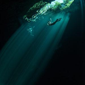 "Freediver in ""The Pit"" Cenote | Sistema Dos Ojos, Mexico"