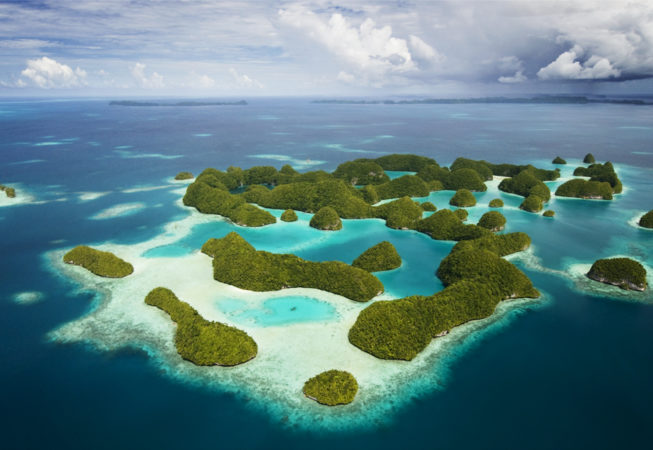 Aerial Shot of the Rock Islands   Micronesia