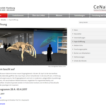 Honoured to be exhibiting my Fin Whale images in the Centrum für Naturkunde (CeNak) – Center of Natural History at the Universität Hamburg – Zoologisches Museum